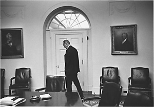 President Johnson walking in office