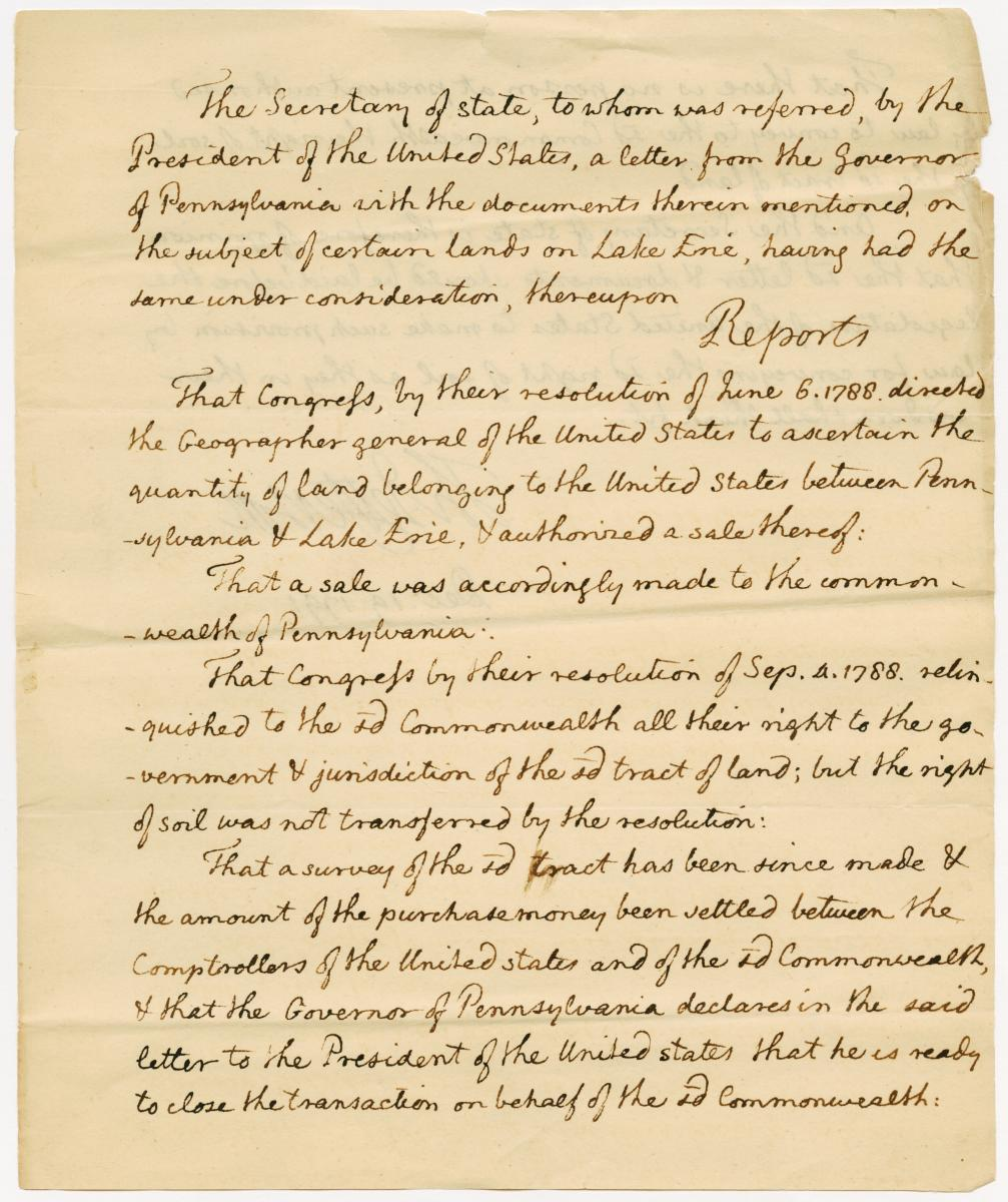 Letter from Secretary of State Thomas Jefferson