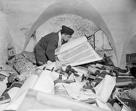 "Hebrew and Jewish books and ""Saphor Torahs"" from many countries were among uncovered Nazi loot"