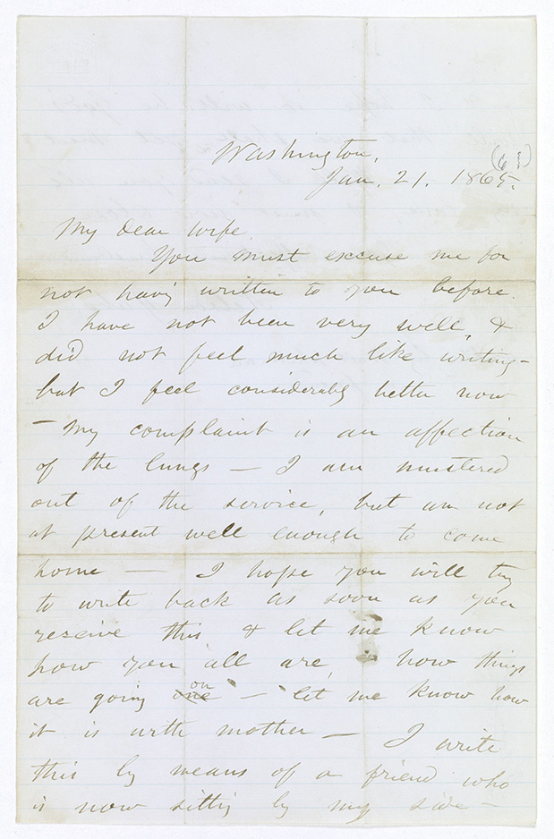 page 1 of walt whitman letter written for a dying soldier