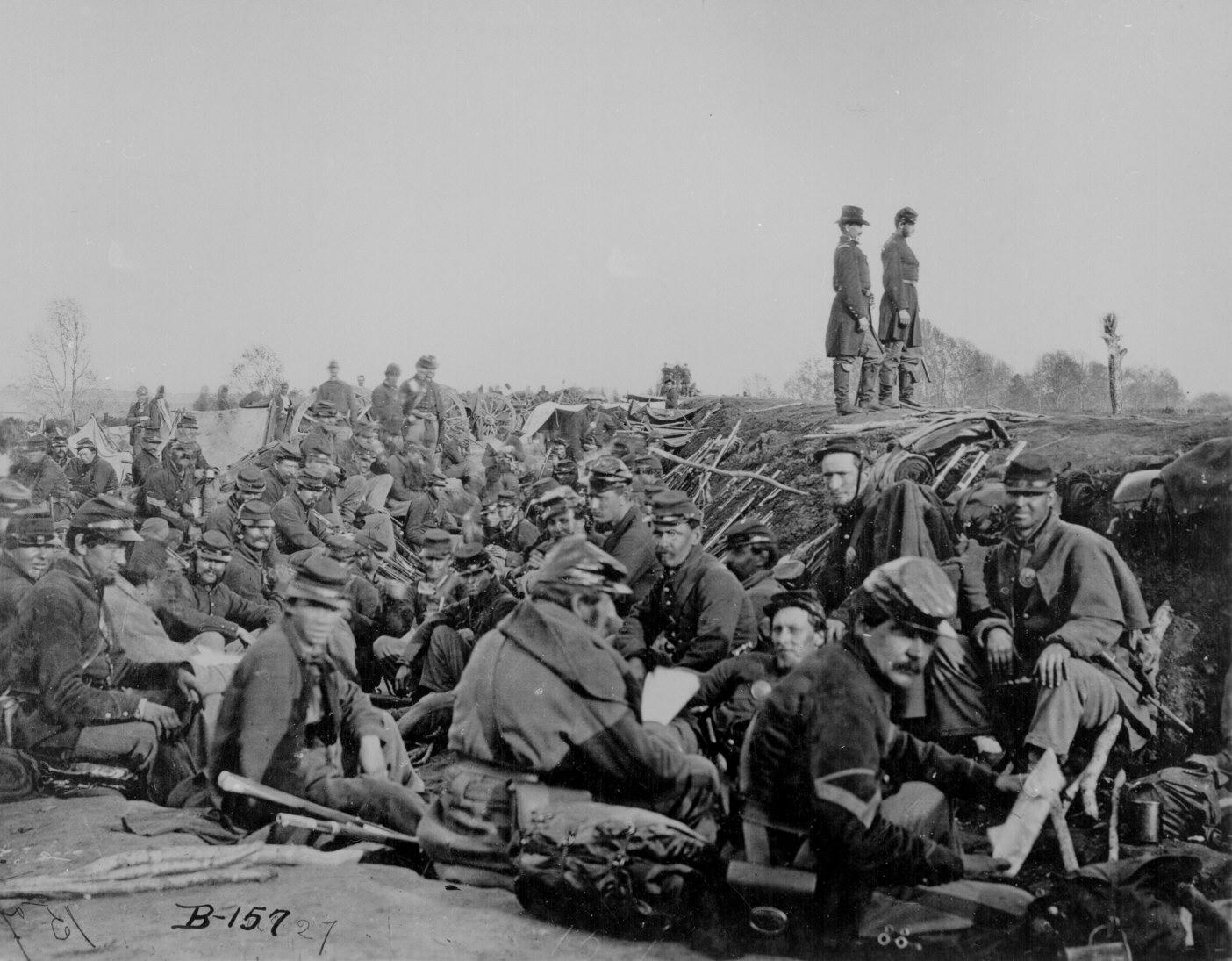 Soldiers in the trenches before battle, Petersburg, Va., 1865. 111-B-157.