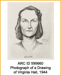 National Archives Identifier 595660 Photograph of a Drawing of Virginia Hall, 1944