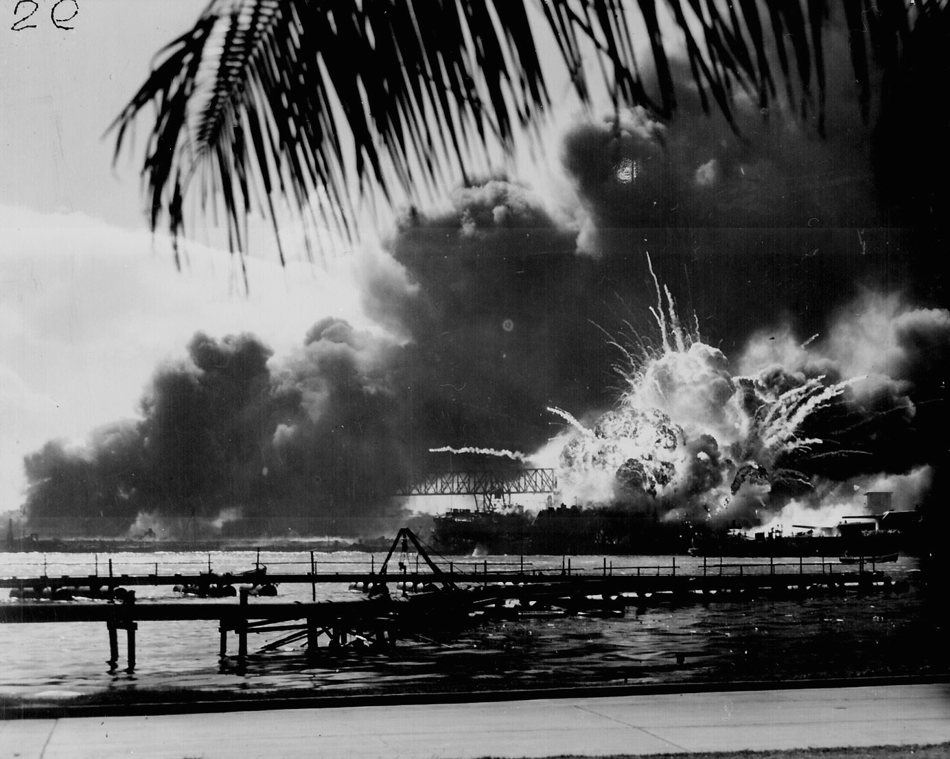 Uss Shaw Exploding During The Japanese Raid On Pearl Harbor December  G