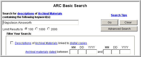 screenshot of ARC search