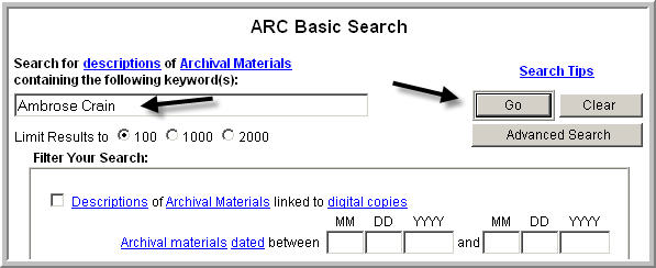 sample ARC search screen