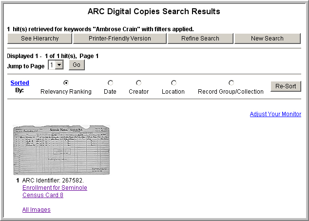 ARC search screen