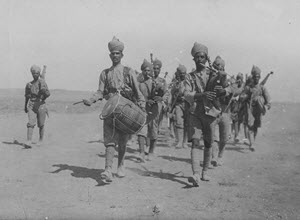 Indian troops enroute to the trenches. Scene during the Mesopotamian campaign