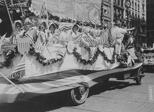 Independence Day Parade, New York City, July 4, 1918. Farmerettes float