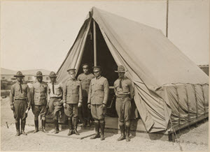 Colored Troops - Commander of U.S. Labor Battalion and Staff. Captain E. S. J1s and Staff at Governor's Island . Captain J1s is commander of the U.S. Labor Battalion stationed there