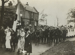 "The ""Big Victory Parade"" at American Base Hospital, Dartford, Near London on Nov. 11"