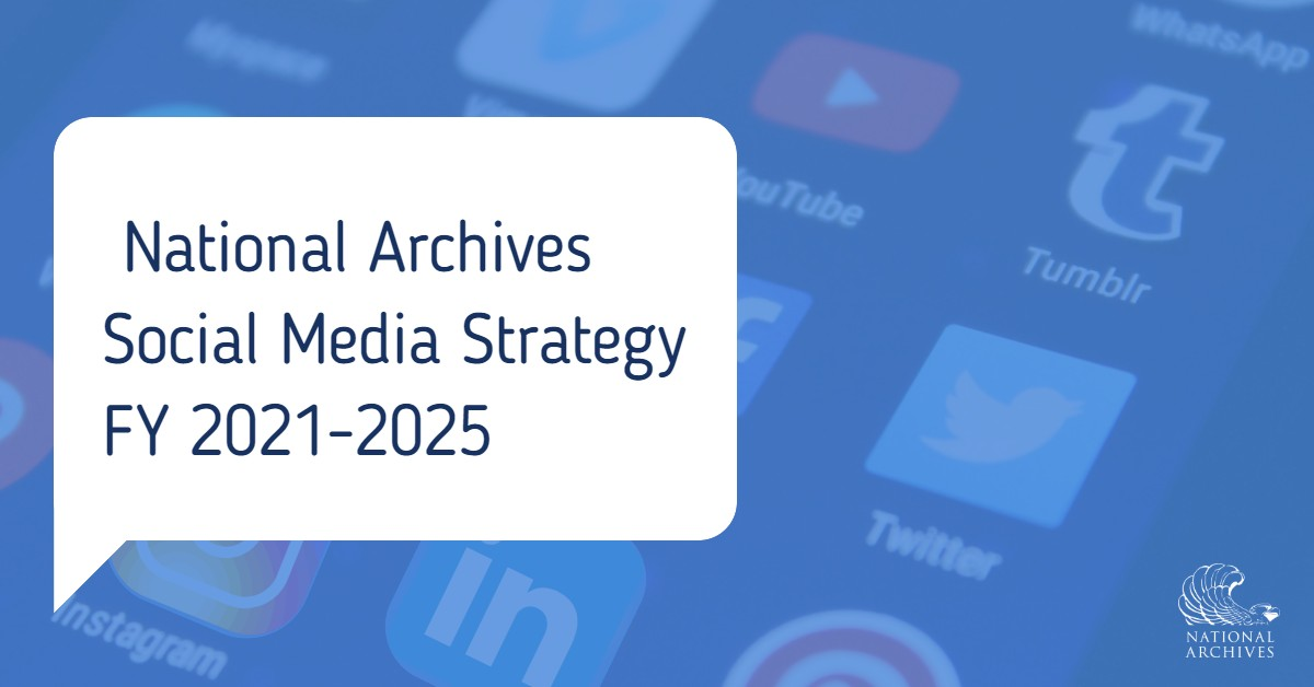 "Close up image of phone screen with various social media apps shown. A White text bubble that says "" Social Media Strategy FY 2021-2025"" is overlaid over the phone screen."