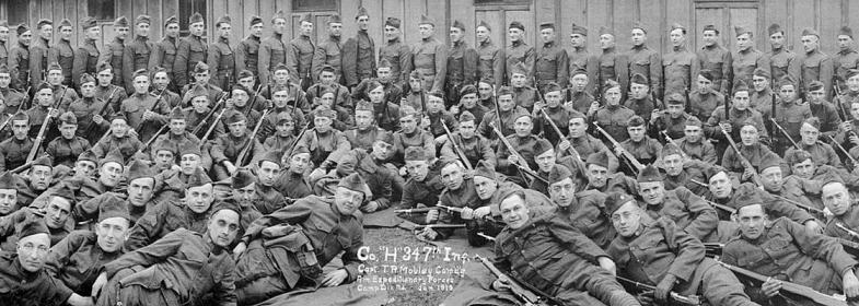 Company H, 347th Infantry AEF at Fort Dix, January 1919 (165-PP-77-1)