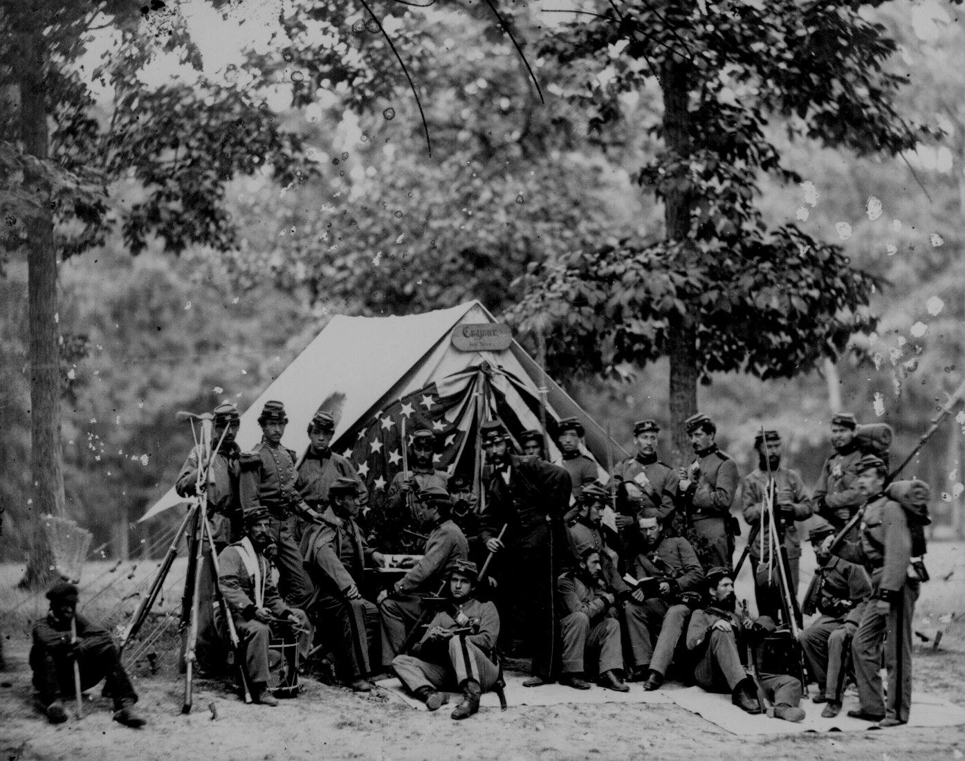 Engineers of the 8th New York State Militia in front of a tent, 1861.