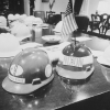 Hard hat presented to Nixon after riots, May 8, 1970.