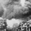 Black smoke in Saigon from fires caused by attack by Viet Cong during Tet Offensive