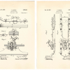 """This patent drawing was submitted by Ronald Andrus in 1936  with Patent 2095951 for """"coasting bob-sleds."""" (Record Group 241: United States Patent and Trademark Office, Patent Case files, 1836-1976. National Archives at Kansas City.)"""