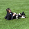 President Bush Plays with Millie and her Puppies
