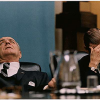 President Johnson and Secretary of Defense Robert McNamara at a Cabinet Meeting during discussion of Tet, 2/7/1968
