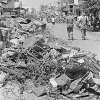Saigon, Vietnam....Rubble and the remains of barbed wire line the streets of Cholon, a suburb of Saigon that was burned by South Vietnamese army troops in an effort to flush out any Viet Cong that remained after the Tet offensive in late January.