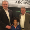 Matt Gurbach and his daughter, Madeline, join Archivist of the United States (right) at the National Archives sleepover on February 24-25, 2018 in Washington, D.C. (Photo courtesy of Matt Gurbach)