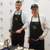 Patrick Madden, Executive Director of the National Archives Foundation, and David S. Ferriero, Archivist of the United States, flip pancakes for breakfast at the National Archives Sleepover on February 24-25, 2018, in Washington, D.C.