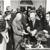 President Eisenhower feeds a turkey