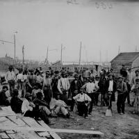 14. Black laborers on a wharf, James River, Va.