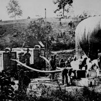16. Federal observation balloon Intrepid being inflated. Battle of Fair Oaks, Va., May 1862.