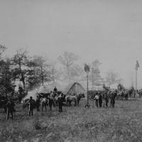 18. Constructing telegraph lines, April 1864