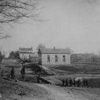 91. Main street and church guarded by Union soldiers, Centreville, Va., May 1862.