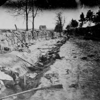 96. Confederate dead behind the stone wall of Marye's Heights, Fredericksburg, Va.