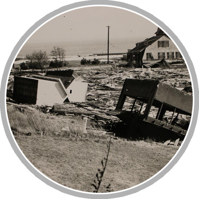 Homes and debris is strewn across Crescent Beach, East Lyme, Connecticut, in the aftermath of the 1938 hurricane that struck New England