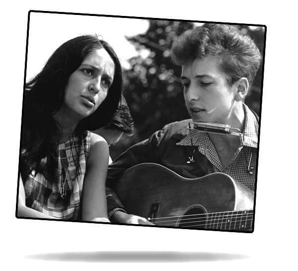 Civil Rights March on Washington, D.C. [Entertainment: closeup view of vocalists Joan Baez and Bob Dylan.]