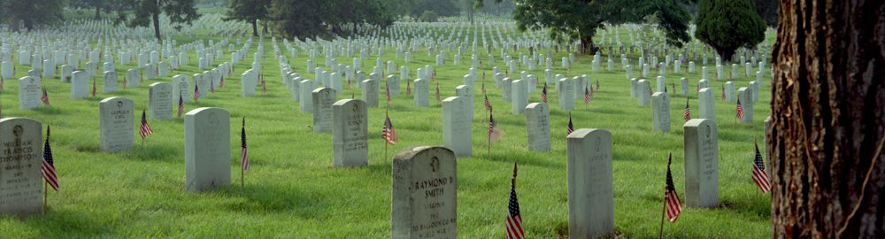 The tombstones at Arlington National Cemetery are decorated with the U.S. flag on Memorial Day
