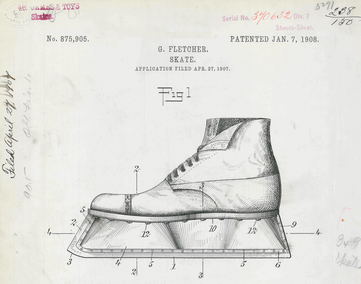 Hockey skate patent drawing