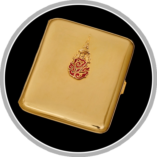 Thai exhibit - Cigarette case with royal cypher of King Ananda Mahidol